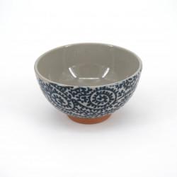 Cuenco de arroz japonés azul pequeño de cerámica, TAKOKARAKUSA motivos azules