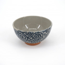 small blue japanese rice bowl in ceramic, TAKOKARAKUSA blue patterns