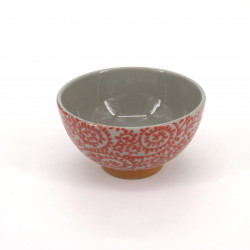 Cuenco de arroz japonés rojo pequeño de cerámica, TAKOKARAKUSA motivos rojos
