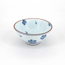 Cuenco de arroz japonés azul pequeño de cerámica, SAKURA flores