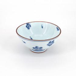 petit bol à riz japonais bleu en céramique, SAKURA, fleurs