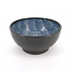 bol à riz japonais en céramique, SEIGAIHA vagues bleues et noires