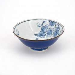 small blue japanese rice bowl in ceramic, GUREPPU Ø13cm grape