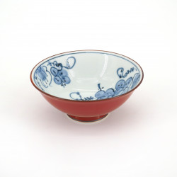 small red japanese rice bowl in ceramic, GUREPPU Ø11,5cm grape