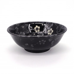 japanese noodle ramen bowl in ceramic HANA, black flowers