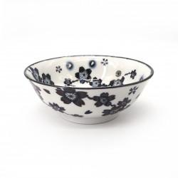 bol japonais à ramen en céramique fleurs HANASAKURA, blanc et noir