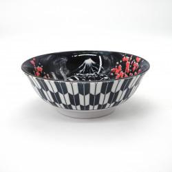 Tazón japonés para fideos ramen de ceramica teatro KABUKI, rojo y azul