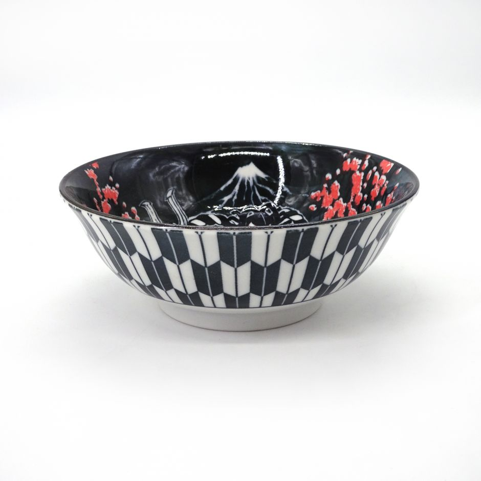 japanese noodle ramen bowl in ceramic theater KABUKI, red and blue