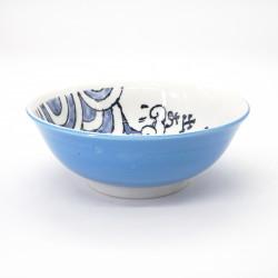 japanese noodle ramen bowl in ceramic OOTSURI, blue fish