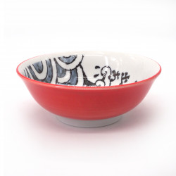 japanese noodle ramen bowl in ceramic OOTSURI, red fish