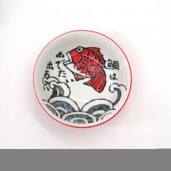 Tazón japonés para fideos ramen de ceramica OOTSURI, pez rojo