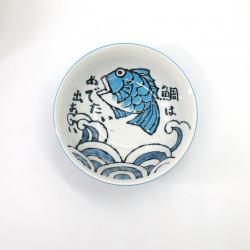 bol japonais à ramen en céramique pêche OOTSURI, poisson bleu