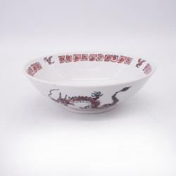 Tazón japonés para fideos ramen de ceramica dragón RYU, rojo y blanco