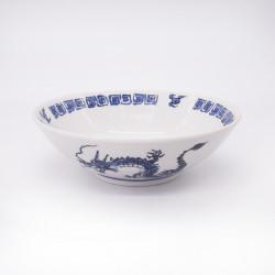 bol japonais à ramen en céramique dragon RYU, bleu et blanc