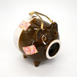 adorno de mesa de cerámica, BUTA, cerdo castaño