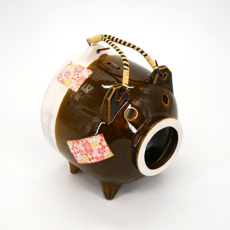 ceramic table ornament, BUTA, brown pig