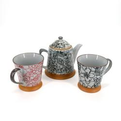 Servicio de cerámica de té japonés 1 tetera y 2 tazas 3 pcs HANA negro y rojo