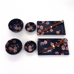 japanese set for sushi 6 pieces, NAVY SAKURA, pink flowers