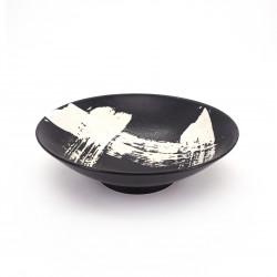 Tazón japonés para fideos ramen de ceramica negro SHIROHAKEME, cepillo blanco