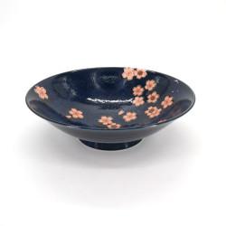 bol japonais à ramen en céramique bleu NAVY SAKURA, fleurs roses