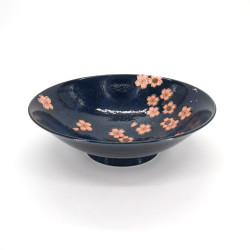 japanese noodle ramen bowl in ceramic blue NAVY SAKURA, pink flowers