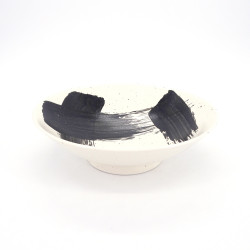 japanese noodle ramen bowl in ceramic white SHIROHAKEME, black brush
