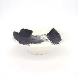Tazón japonés para fideos ramen de ceramica blanco SHIROHAKEME, cepillo negro