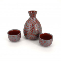 sake service 1 bottle and 2 cups, KARAKUSA, red