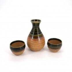 Servicio de sake japonés 2 vasos y 1 botella., CHA, marrón