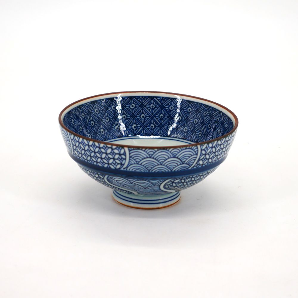 small blue japanese rice bowl in ceramic, CHIMON Ø11,6cm blue patterns