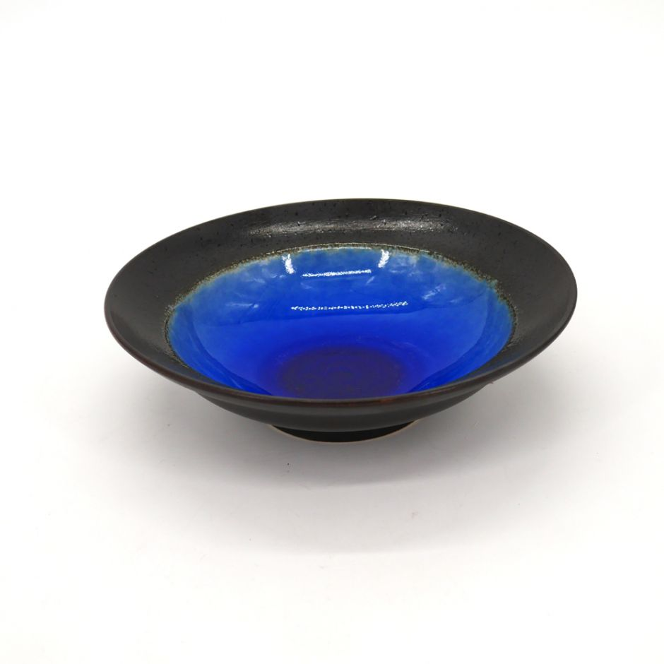 small japanese rice bowl in ceramic, LAGOON blue