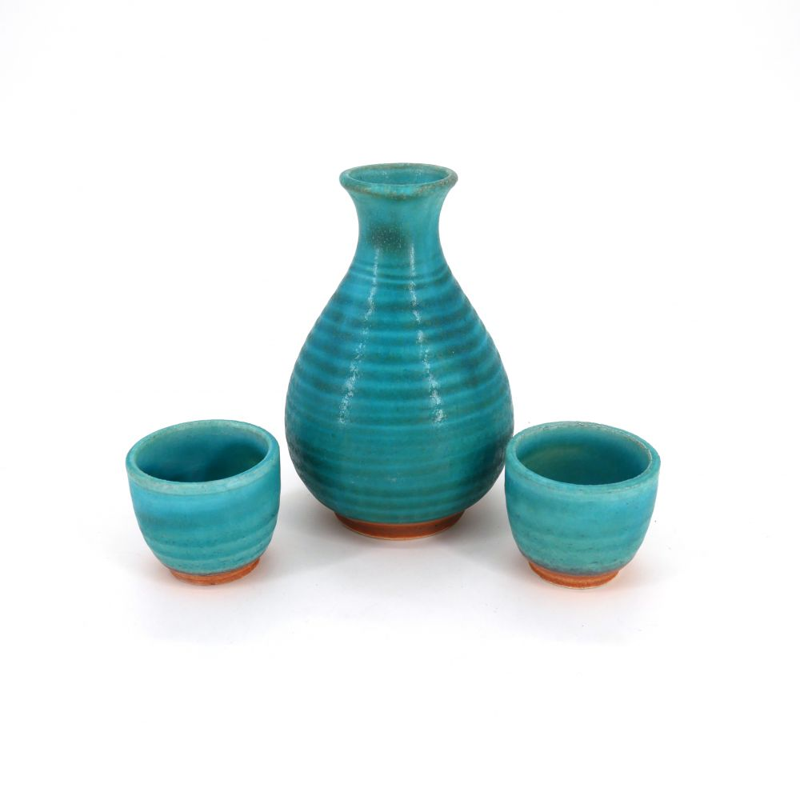 sake service 1 bottle and 2 cups, TORUKO, turquois blue