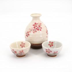 service à saké bouteille et 2 tasses, SAKURAZAKE, blanc et fleurs roses