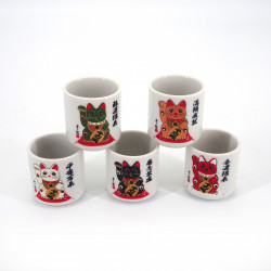 Japanese five sake cups set with 5 colours MANEKINEKO cats