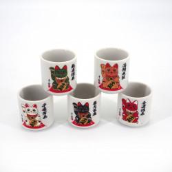juego de 5 tazas de sake japonesas tradicionales 5 colores MANEKINEKO gatos