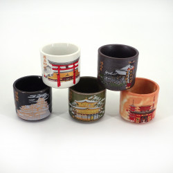 Japanese five sake cups set with 5 patterns MEISHO building