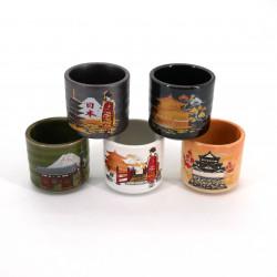juego de 5 tazas de sake japonesas tradicionales 5 imagenes KURASHIKARU JAPAN pagoda