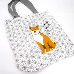 Sac A4 size bag japonais blanc en coton, ASANOHA, chien shiba