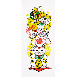 Japanese cotton towel TENUGUI MANEKINEKO cats