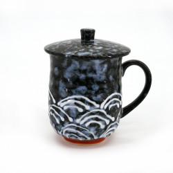 taza japonesa negra de ceramica con tapa, SEIGAIHA, olas