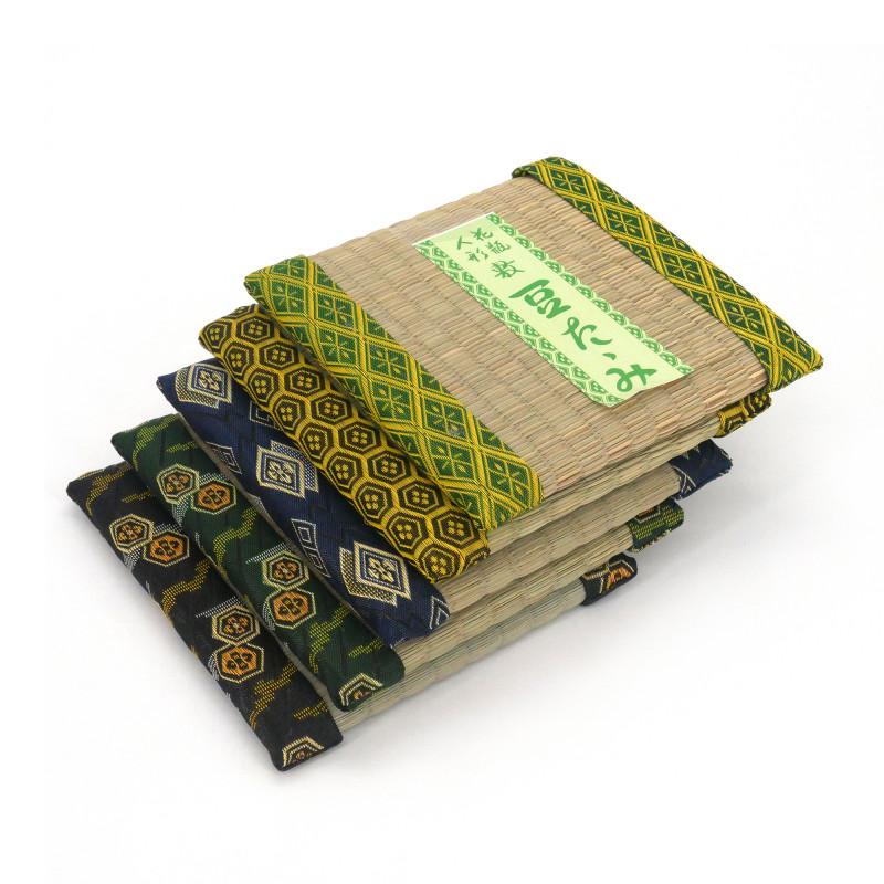 dessous de plat / théière carré en tatami 15 x 15 cm