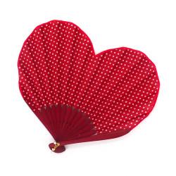 Ventaglio a forma di cuore giapponese, HEART, rosso