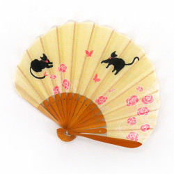 piccolo ventaglio giapponese 21 cm in cotone, NEKO, gatti gialli