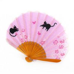 piccolo ventaglio giapponese 21 cm in cotone, NEKO, gatti viola