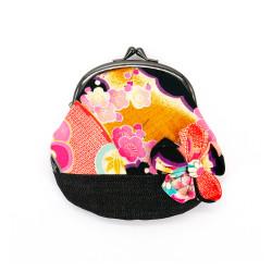 Portafoglio giapponese 100% cotone, CHIRIMEN, motivi fiori