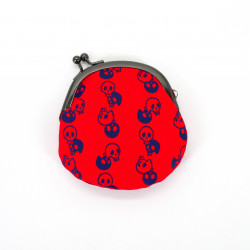 Japanese wallet 100% cotton, SKULLHEAD, red