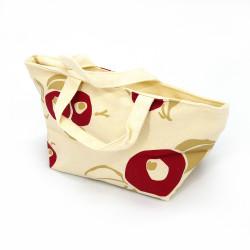 Borsa bianco in cotone giapponese, 29.5x15.5cm fiori rossi