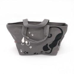 Borsa grigio in cotone giapponese, 29.5x15.5cm gatti