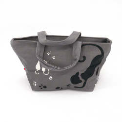 Japanese grey cotton bag, 29.5x15.5cm cats