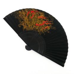 abanico japonés negro 22cm para hombres, RYÛ, dragón dorado